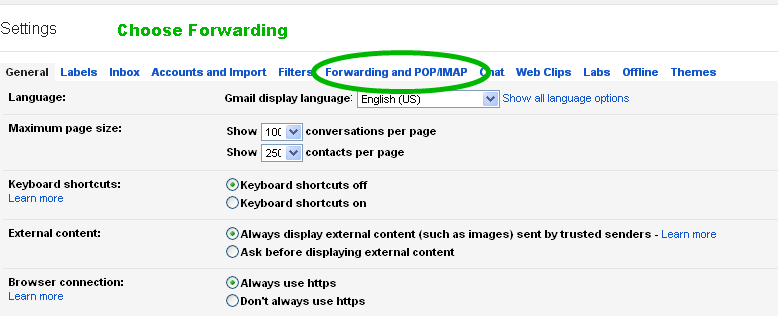 Choose Gmail Forwarding Option