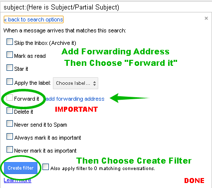 Add Forwarding Address and the Forward it Option